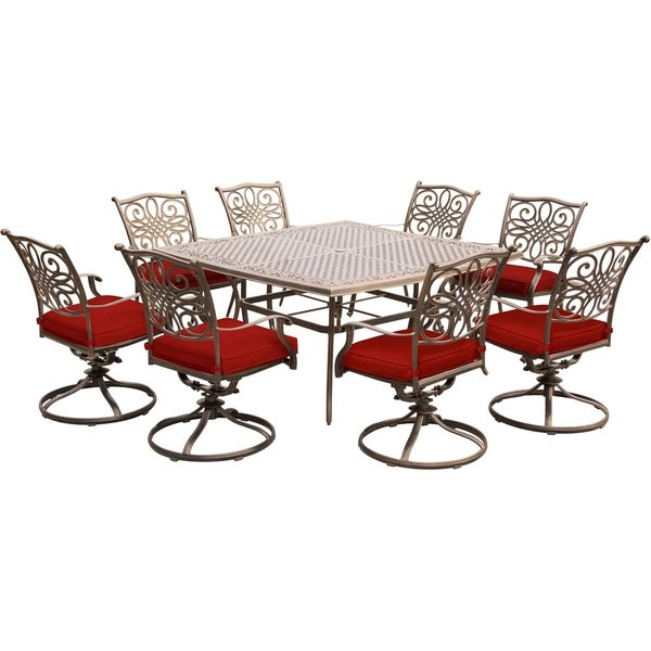 shop hanover traditions 9 piece dining set in red with eight swivel