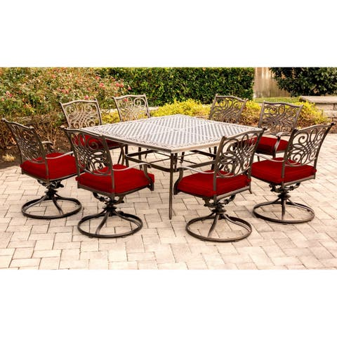 Hanover Traditions 9-Piece Dining Set in Red with Eight Swivel Rockers and a Large 60 In. Cast-top Square Table