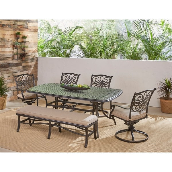 """Hanover Traditions 6-Piece Dining Set in Tan with 4 Swivel Rockers, a Cushioned Bench, and a 38"""" x 72"""" Cast-Top Table"""