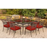 Hanover Traditions 9-Piece Dining Set in Red with 60 In. Square Glass-Top Dining Table