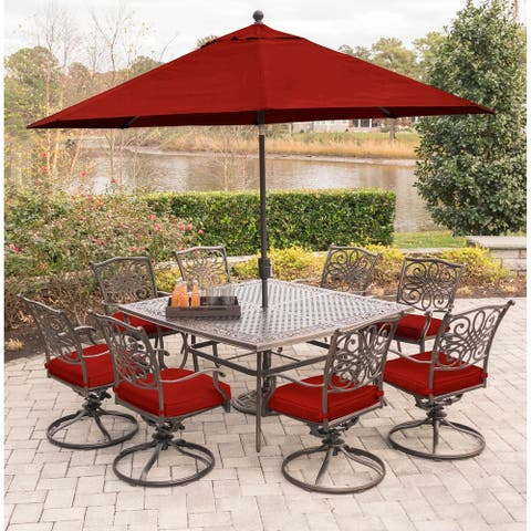 Hanover Traditions 9-Piece Dining Set in Red w/ Square Dining Table, Umbrella, and Stand