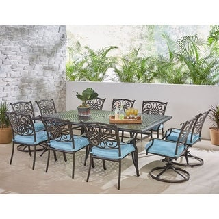 Hanover Traditions 11-Piece Dining Set in Blue with Four Swivel Rockers, Six Dining Chairs, and an Extra-Long Dining Table
