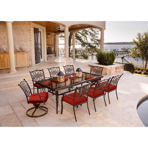 Hanover Traditions 9-Piece Dining Set in Red with Extra Large Glass-Top Dining Table, 2 Swivel Rockers, and 6 Dining Chairs
