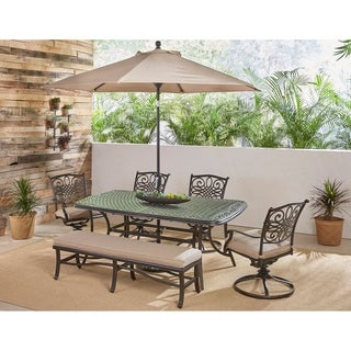Hanover Traditions 6-Piece Dining Set in Tan w/ 4 Swivel Rockers, 1 Bench, Table, Umbrella and Stand