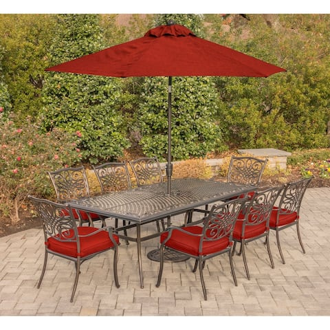 Hanover Traditions 9-Piece Dining Set in Red with an 84 x 41 in. Cast-Top Dining Table, 11 Ft. Table Umbrella and Umbrella Stand