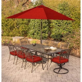 Hanover Traditions 9-Piece Dining Set in Red with an Extra-Long Cast-Top Dining Table, 11 Ft. Table Umbrella, and Umbrella Stand