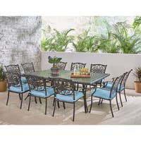 Hanover Traditions 11-Piece Dining Set in Blue with Ten Stationary Dining Chairs and an Extra-Long Dining Table