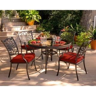 Hanover Traditions 5-Piece Dining Set in Red with 48 In. Glass-top Table
