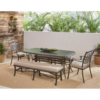 "Hanover Traditions 5-Piece Outdoor Dining Set in Tan with Two Dining Chairs, Two Benches, and a 72"" x 38"" Cast-top Table"