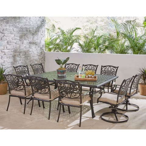 Hanover Traditions 11-Piece Dining Set in Tan with Four Swivel Rockers, Six Dining Chairs, and an Extra-Long Dining Table