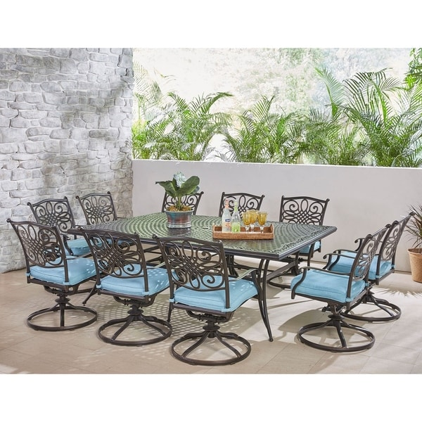 Hanover Traditions 11-Piece Dining Set in Blue with Ten Swivel Rockers and an Extra-Long Dining Table
