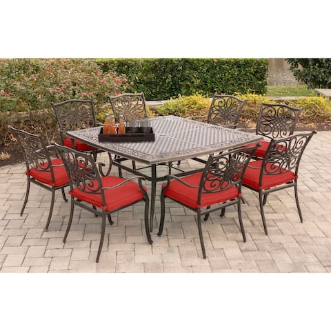 Hanover Traditions Red Cushion 9-piece Square Dining Set