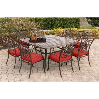 Hanover Traditions 9 Piece Square Dining Set In Red