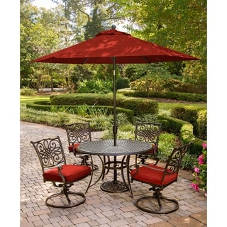 Hanover Traditions 5-Piece Dining Set in Red with Four Swivel Rockers, 48 Cast-top Table, 9 Ft. Umbrella and Stand