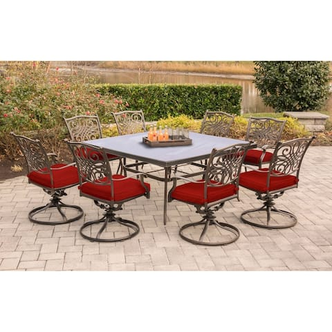 Hanover Traditions 9-Piece Dining Set in Red with a 60 In. Square Glass-Top Dining Table