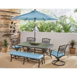 Hanover Traditions 6-Piece Dining Set in Blue w/ 4 Swivel Rockers, Bench, Table, Umbrella and Stand