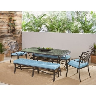 "Hanover Traditions 5-Piece Outdoor Dining Set in Blue with Two Dining Chairs, Two Benches, and a 72"" x 38"" Cast-top Table"