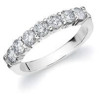 Amore 10K White Gold 1.0 CT TDW Seven Stone Shared Prong Diamond Ring