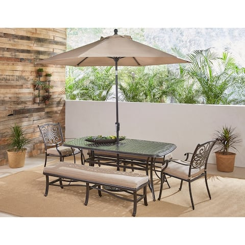 Hanover Traditions 5-Piece Outdoor Dining Set in Tan w/ Chairs, Benches, Table, Umbrella and Stand