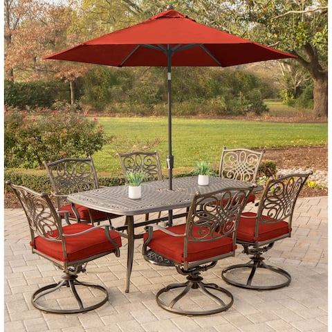 Hanover Traditions 7-Piece Dining Set in Red with Six Swivel Rockers, Table, Umbrella and Stand