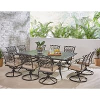 Hanover Traditions 11-Piece Dining Set in Tan with Ten Swivel Rockers and an Extra-Long Dining Table