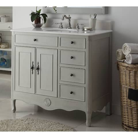 "38"" Benton Collection Fayetteville Distressed Gray Bathroom Vanity"