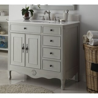 Benton Collection Fayetteville Distressed Gray Bathroom Vanity & BS 38""