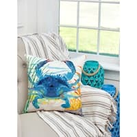 Blue Crab Indoor / Outdoor 18 Inch Throw Pillow