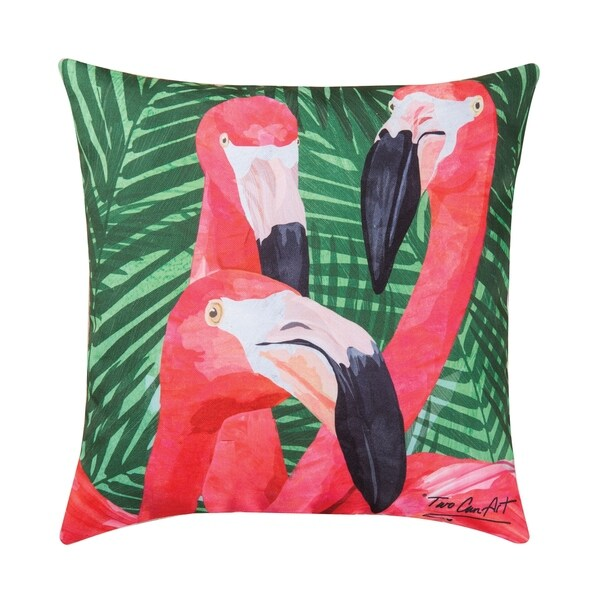 Flamingos Printed 18 Inch Accent Pillow
