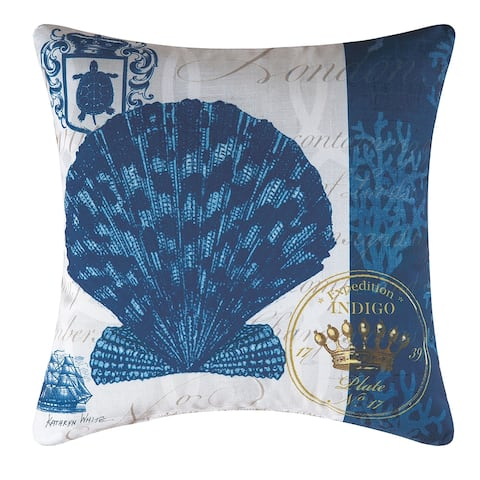Indigo Shell Printed 18 Inch Accent Decorative Accent Throw Pillow