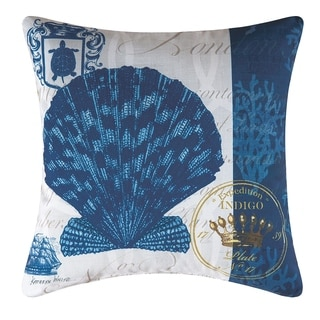 Indigo Shell Printed 18 Inch Accent Pillow