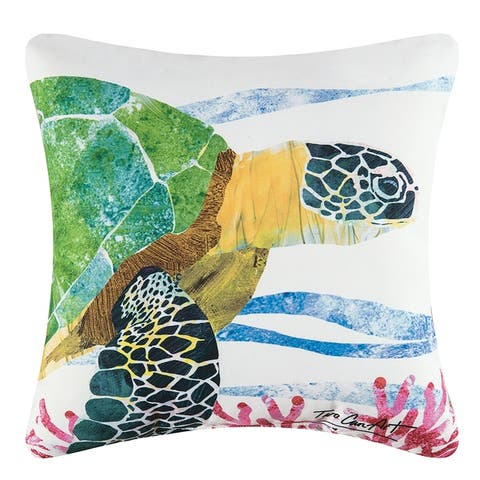 Sea Turtle Coastal Indoor/Outdoor 18x18 Throw Accent Decorative Accent Throw Pillow