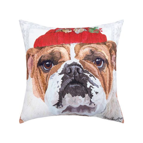 Winter Hat Bull Dog Printed 18 Inch Accent Decorative Accent Throw Pillow