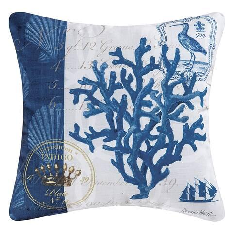 Indigo Coral Coastal Indoor/Outdoor 18x18 Throw Accent Decorative Accent Throw Pillow