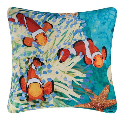 Coral Reef Printed 18 Inch Accent Decorative Accent Throw Pillow