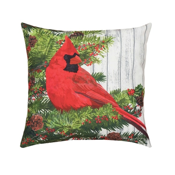 After Christmas Furniture Sales: Shop Christmas Bird HD Indoor/Outdoor 18 Inch Throw Pillow