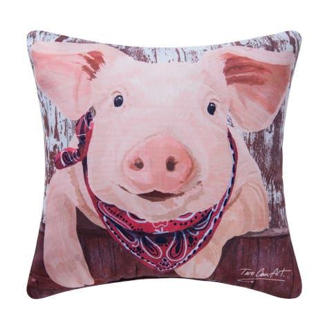 Pink Pig Indoor / Outdoor 18x18 Throw Decorative Accent Throw Pillow