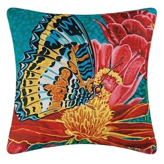 Butterfly Printed 18 Inch Accent Pillow