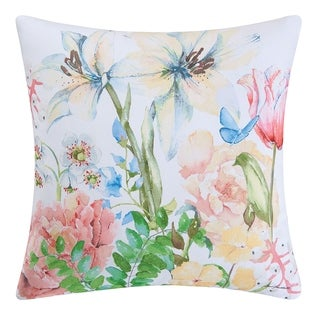 Butterfly Floral Indoor / Outdoor 18 Inch Throw Pillow
