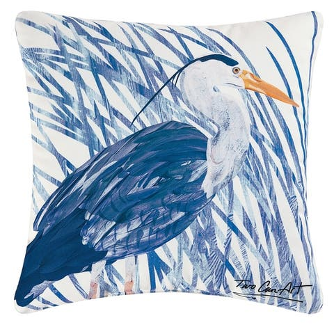 "18"" Decorative Blue Heron Square Outdoor Throw Pillow - Polyester Down Filler"