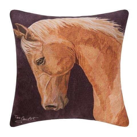 Brown Chestnut Horse Indoor/Outdoor 18x18 Throw Decorative Accent Throw Pillow