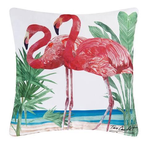Pink Flamingos Coastal Indoor/Outdoor 18x18 Throw Decorative Accent Throw Pillow