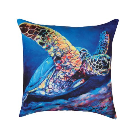Blue Seaturtle Coastal Indoor/Outdoor 18x18 Throw Decorative Accent Throw Pillow