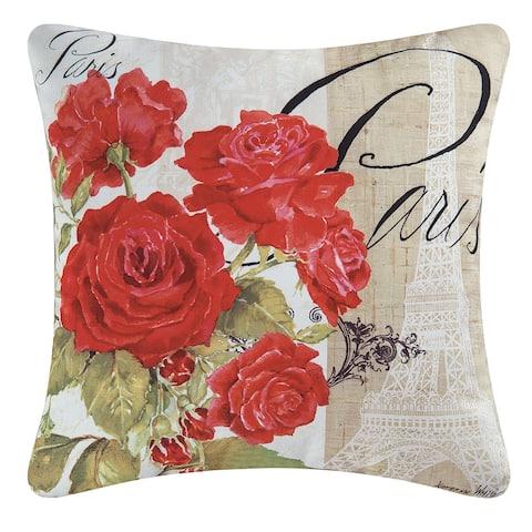 Paris Rose Flower Indoor/Outdoor 18x18 Inch Throw Accent Decorative Accent Throw Pillow