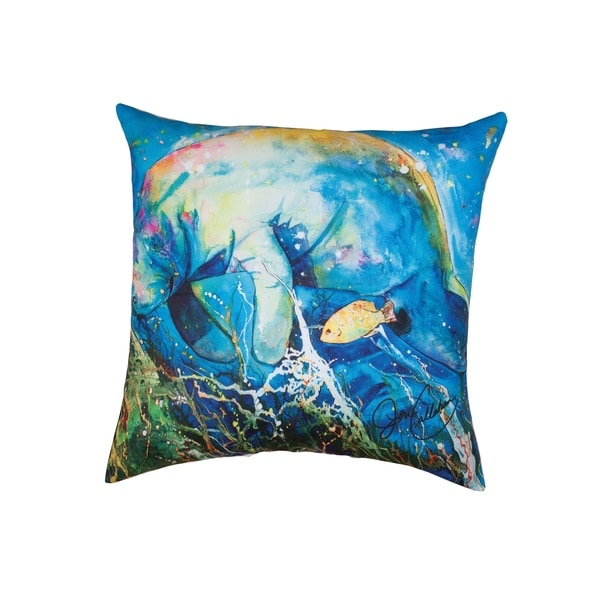Manatee Barrier Reef Printed 18 Inch Accent Pillow