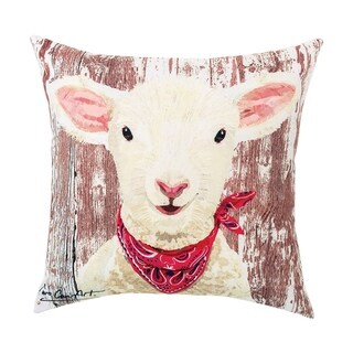 Lamb Printed 18 Inch Accent Pillow