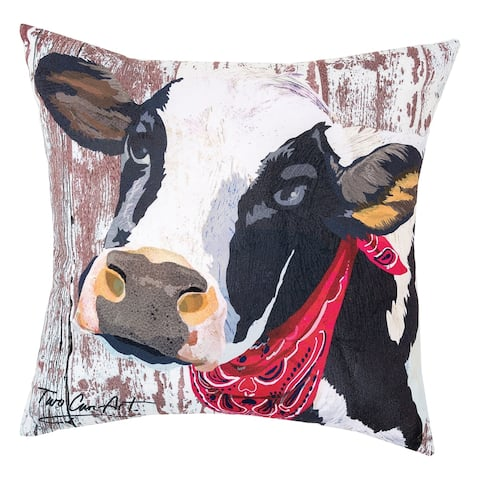 Black Cow Indoor/Outdoor 18x18 Throw Accent Decorative Accent Throw Pillow