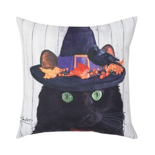 Black Cat HD Indoor/Outdoor 18 Inch Throw Pillow