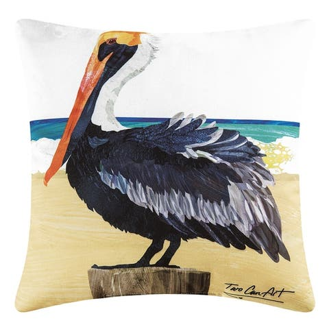 Pelican Printed 18 Inch Accent Decorative Accent Throw Pillow