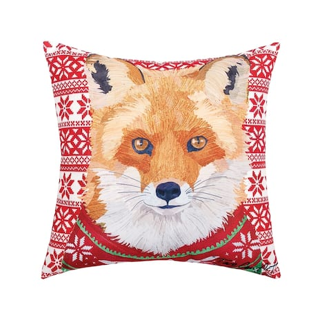 Ugly Sweater Fox Printed 18 Inch Accent Decorative Accent Throw Pillow